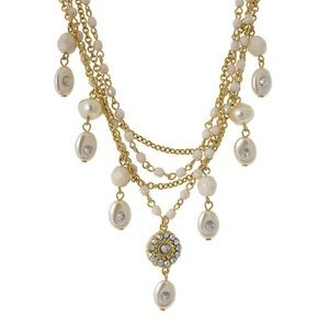Multi Layered Chain & Pearl Beads Necklace